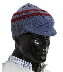 Bluish Grey With Maroon Gents Woolen Baseball Cap
