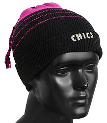 Magenta with Black Ladies Beanie Woolen Cap