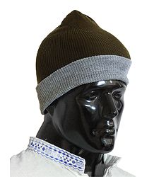 Brown with Grey Gents Woolen Beanie Cap