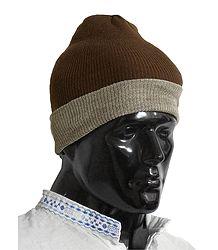 Dark Brown with Light Brown Gents Woolen Beannie Cap