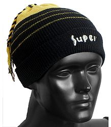 Yellow with Black Ladies Beanie Woolen Cap