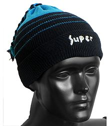 Cyan Blue with Black Ladies Beanie Woolen Cap