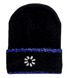 Black Woolen Beanie Cap with Blue Border