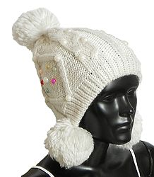 Ladies Hand Knitted White Woolen Bobble Cap