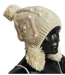 Buy Beige Woolen Bobble Cap