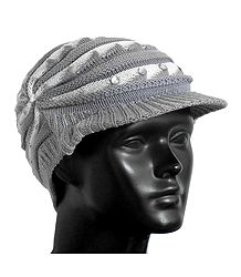 Buy Grey with White Ladies Woolen Cap
