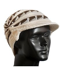 Shop Online Ivory with Brown Ladies Woolen Cap