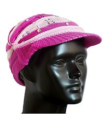 Dark Pink with Light Pink Ladies Woolen Cap