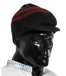 Black With Maroon Woolen Baseball Cap