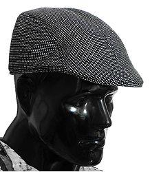 Cross Woven Check Woolen Flat Cap