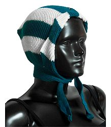 White with Cyan Blue Ladies Woolen Scarf Cap