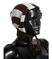 White with Brown Ladies Woolen Scarf Cap