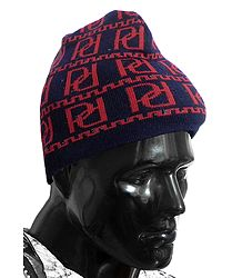 Red Design on Blue Woolen Gents Beanie Cap