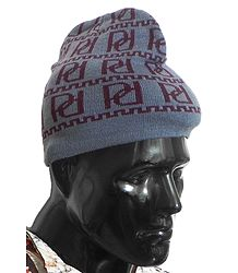 Maroon Design on Grey Woolen Gents Beanie Cap