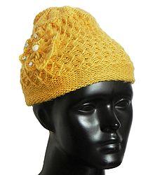 Buy Hand Knitted Yellow Woolen Beannie Cap