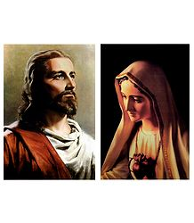 Mother Mary and Jesus Christ - Set of 2 Posters