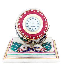 Decorative Marble Table Clock on a Chowki