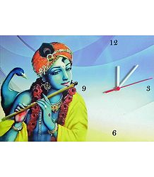 Wall Clock on Hardboard with Krishna Picture