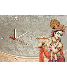 Wall Clock on Hardboard with Murlidhara Krishna Picture