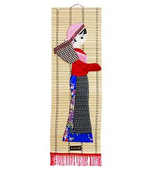 Appliqued Cloth Tea Plucker on Woven Bamboo Strips