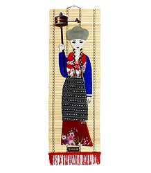 Appliqued Cloth Girl with Mane on Woven Bamboo Strips
