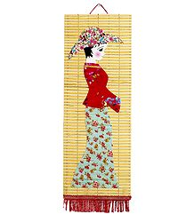 Appliqued Cloth Girl with Hat on Woven Bamboo Strips