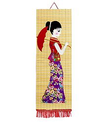 Appliqued Cloth Girl with Umbrella on Bamboo Strips