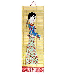 Appliqued Cloth Girl on Woven Bamboo Strips