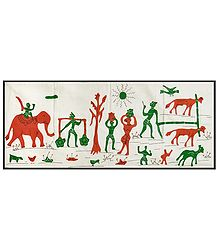 Buy Appliqued Rural Scene on Cotton Cloth