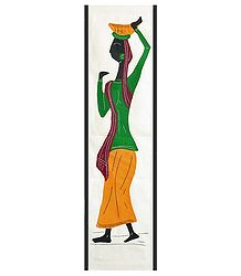 Buy Appliqued Village Woman on Cotton Cloth