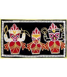 Appliqued Jagannathdev, Balaram and Subhadra on Black Velvet Cloth - (Wall Hanging)