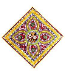 Appliqued Jagannathdev Face on Red Velvet Cloth