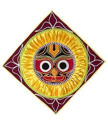 Appliqued Jagannathdev Face on Maroon Velvet Cloth - Wall Hanging
