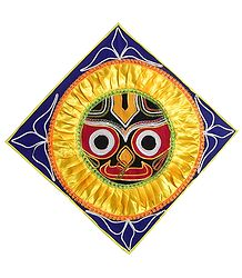 Appliqued Jagannathdev Face on Blue Velvet Cloth - Wall Hanging