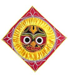 Appliqued Jagannathdev Face on Red Velvet Cloth