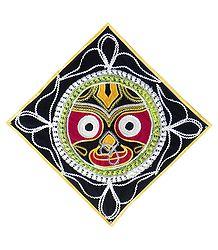 Appliqued Face of Jagannathdev on Black Velvet Cloth