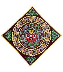 Appliqued Face of Jagannathdev on Maroon Velvet Cloth