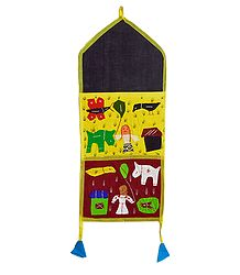 Multicolor Appliqued Magazine Holder with 2 Pockets - Wall Hanging