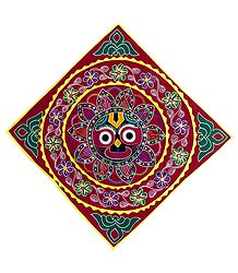 Appliqued and Embroidered Face of Jagannathdev on Red Velvet Cloth - (Wall Hanging)