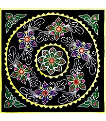Buy Appliqued and Embroidered Flowers on Cotton Cloth