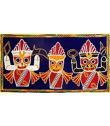 Appliqued Jagannthdev, Balaram and Subhadra on Blue Velvet Cloth - (Wall Hanging)