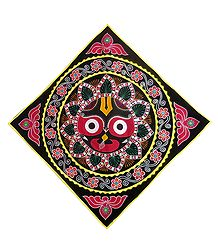 Appliqued Face of Jagannathdev on Black Velvet Cloth