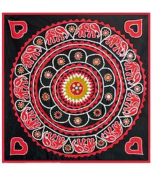 Red Appliqued Elephants on Black Cotton Cloth - Wall Hanging