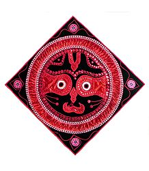 Appliqued Jagannathdev Face Decorated with Red Satin and Zari Ribbon on Black Velvet Cloth - (Wall Hanging)