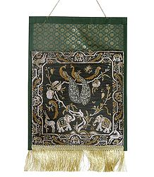 Magazine and Paper Holder with One Pocket in Zari Weaved Elephants