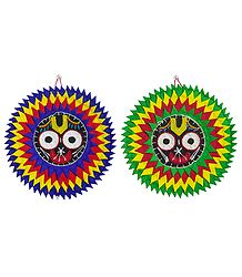 Pair of Jagannathdev on Appliqued Cotton Cloth