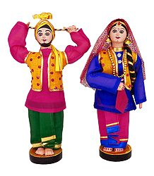 Pair of Bhangra Dancers from Punjab