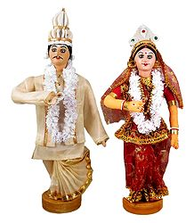 Bengali Bridal Couple - Cloth Dolls