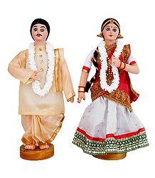 Asamese Bride and Bridegroom - Cloth Dolls