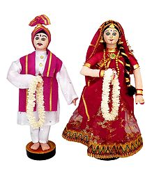 Marwari Bride and Bridegroom - Cloth Doll